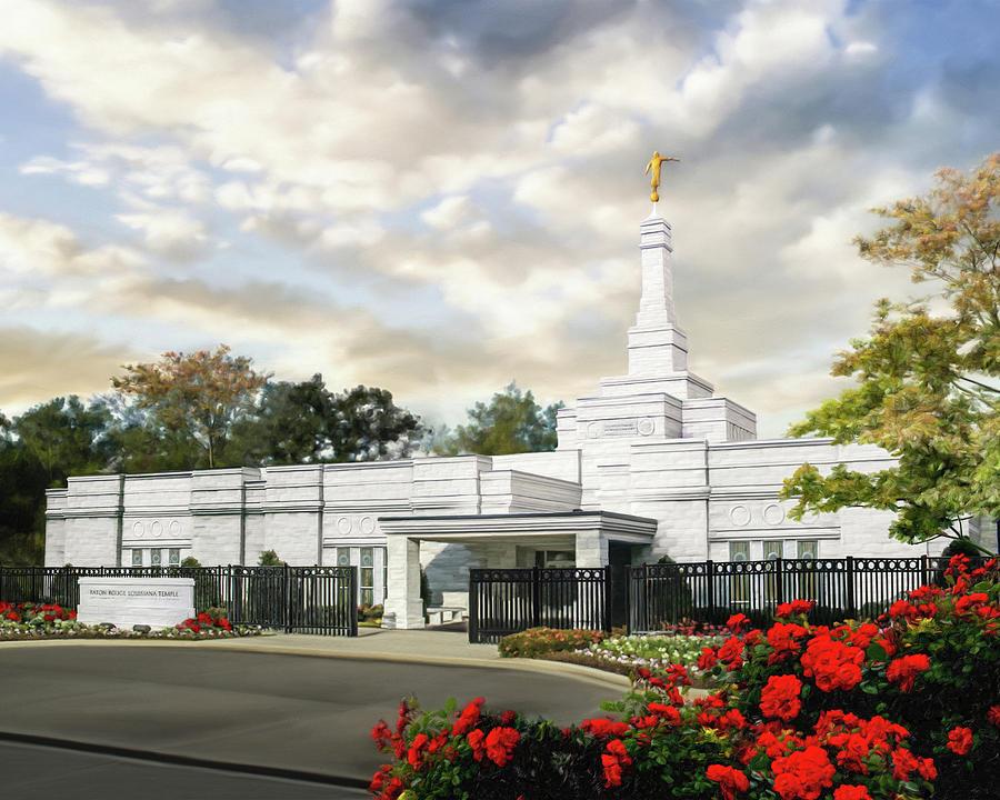 Baton Rouge Painting - Baton Rouge Louisiana Temple by Brent Borup