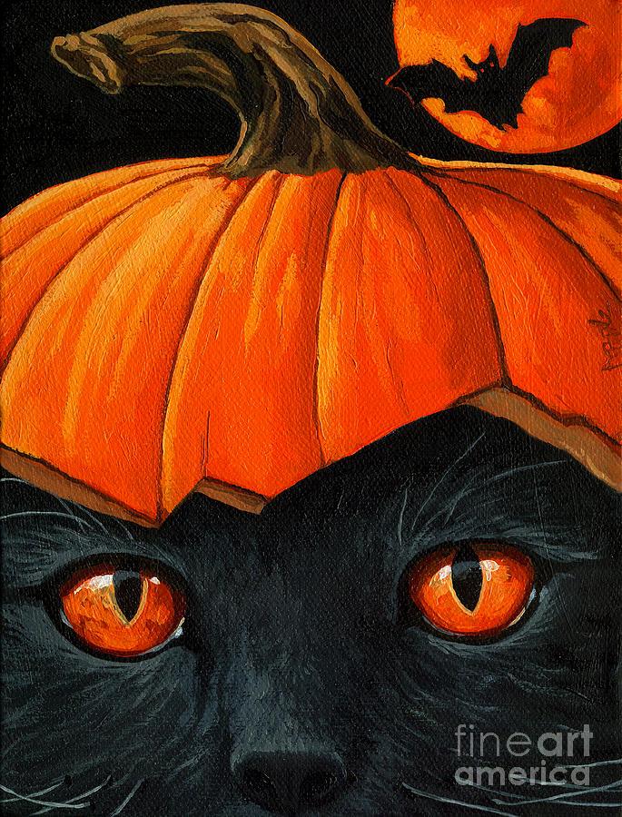 Black Cat Painting - Bats In The Belfry  by Linda Apple