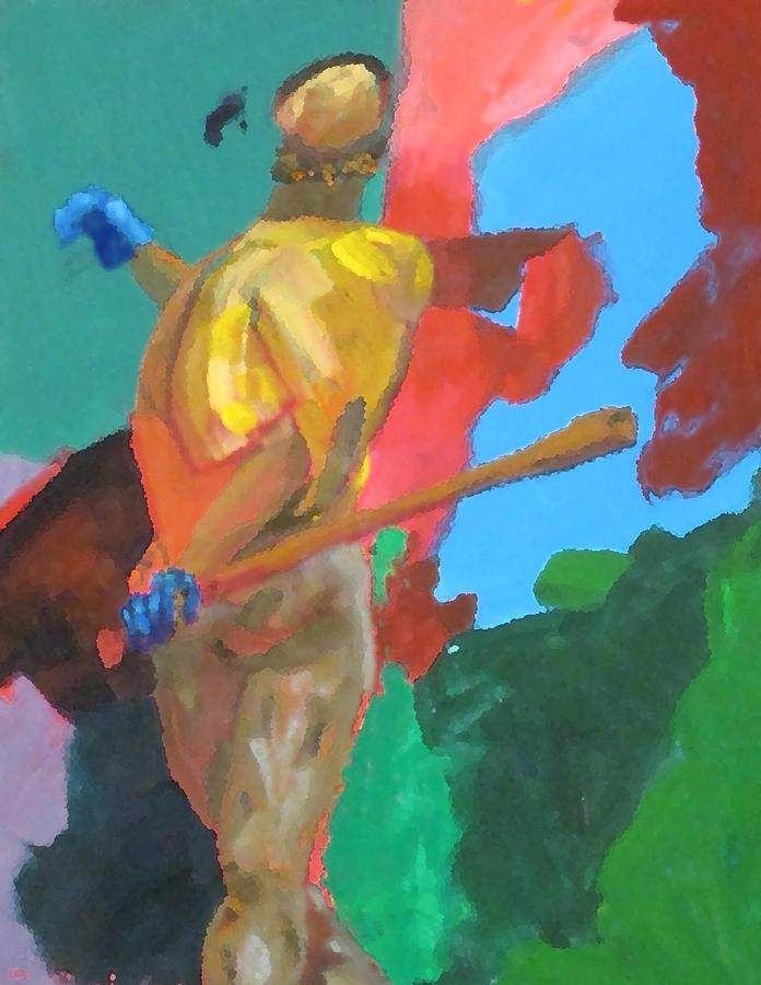 Baseball Painting - Batter Hitting The Baseball by Charles Schuch