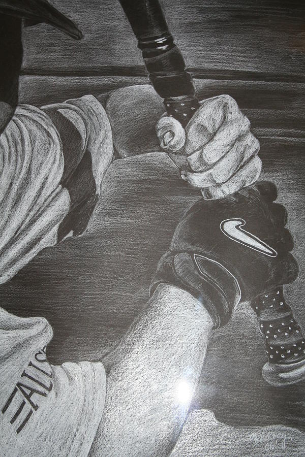 Baseball Drawing - Batter Up by Melissa Wiater Chaney