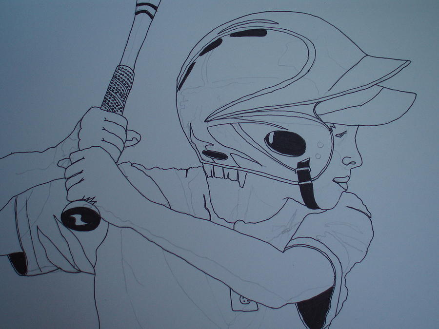 Pen And Ink Drawing - Batter Up by Michael Runner