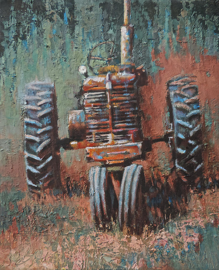 Old Tractor Painting - Battered by Mia DeLode