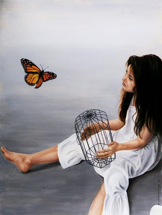 Girl Painting - Batterfly by Nataliya Bagatskaya