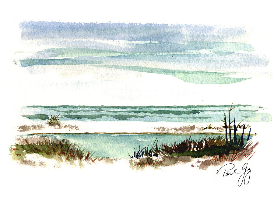 Gulf Of Mexico Painting - Battery Payne Fort Pickens Florida by Paul Gaj