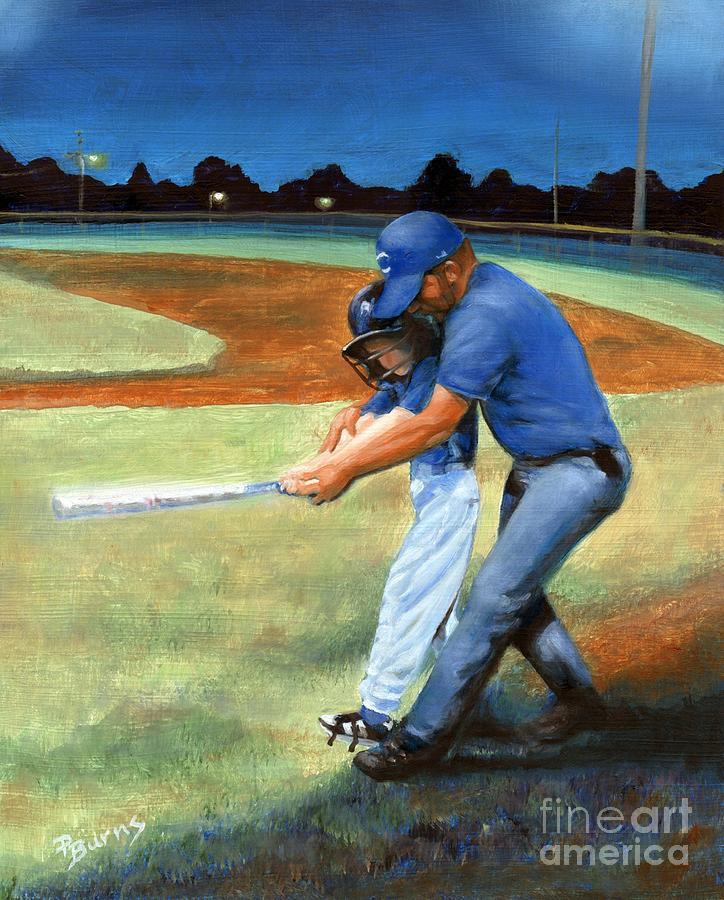 Little League Painting - Batting Coach by Pat Burns