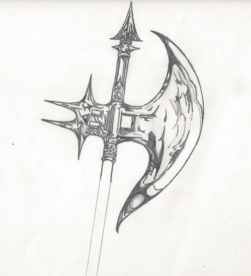 Battle Axe Drawing By Reed Novotny