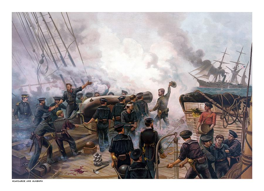 Civil War Painting - Battle Between Kearsarge And Alabama by War Is Hell Store