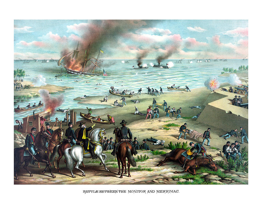Monitor Painting - Battle Between The Monitor And Merrimac by War Is Hell Store