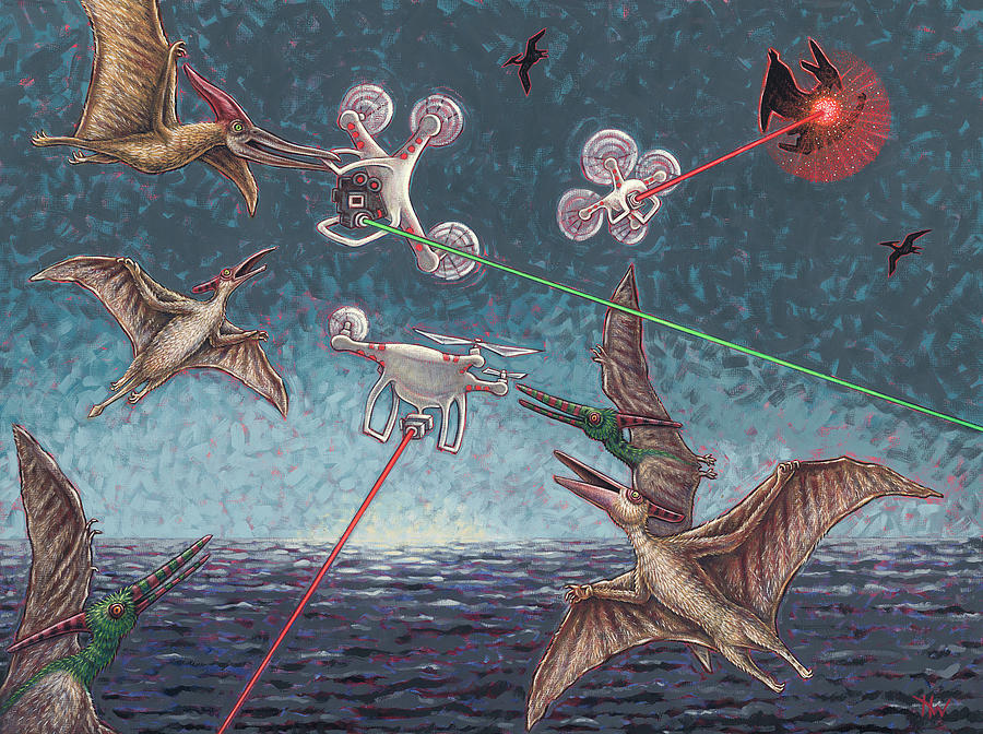 Battle of Pterosaurs and Drones by Holly Wood