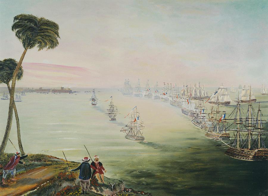 Sea Battle Painting - Battle Of The Nile by Richard Barham