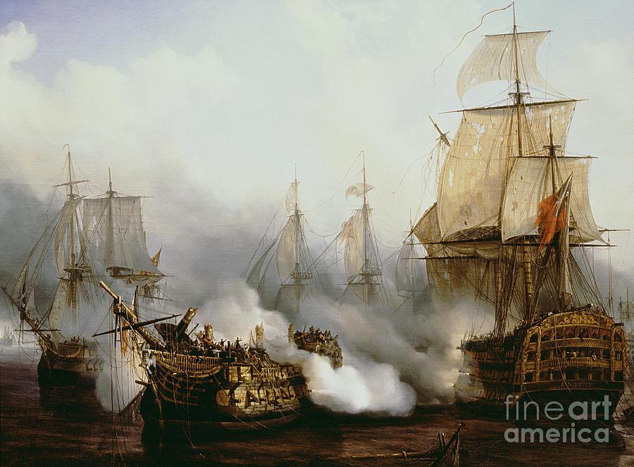 Warfare Painting - Battle of Trafalgar by Louis Philippe Crepin