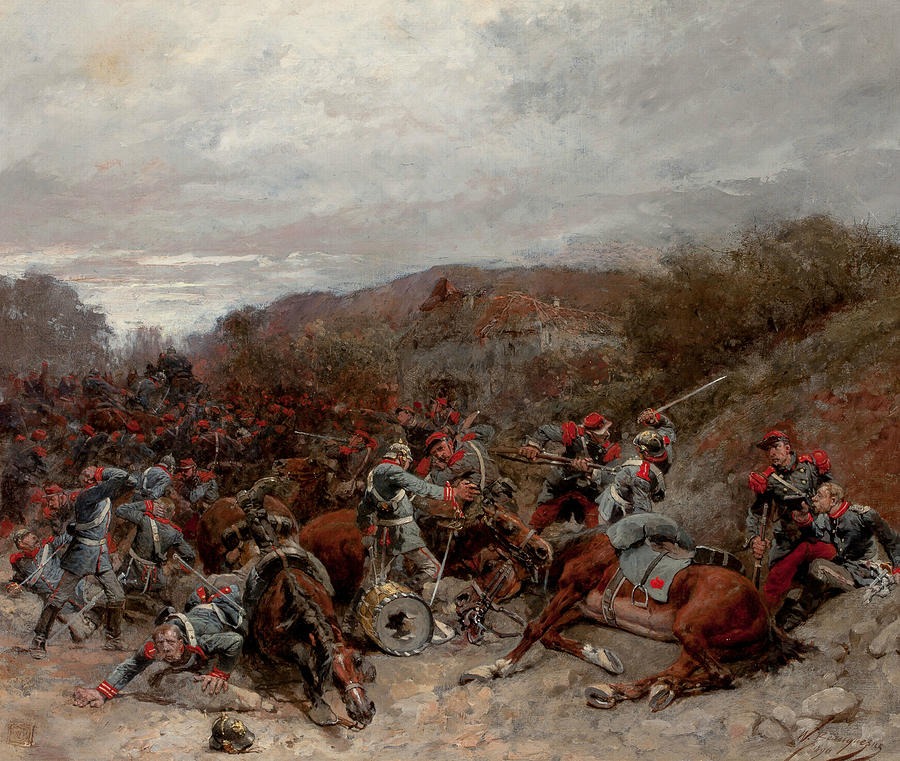 French Painters Painting - Battle Scene From The Franco-prussian War by Wilfrid Constant Beauquesne