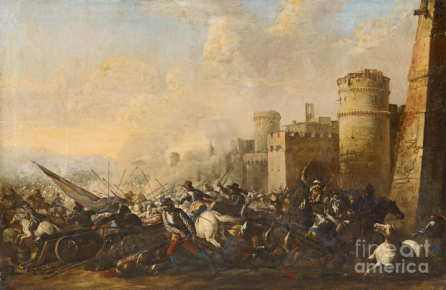Battle Scene In Front Of A Town Wall Painting by MotionAge Designs