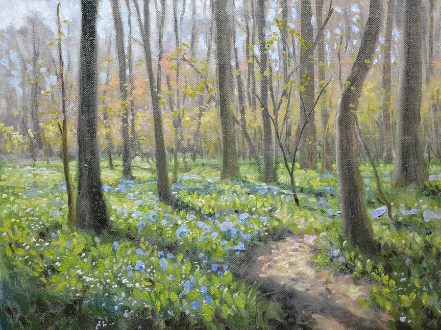 Bluebells Painting - Battlefield Bluebells by Armand Cabrera