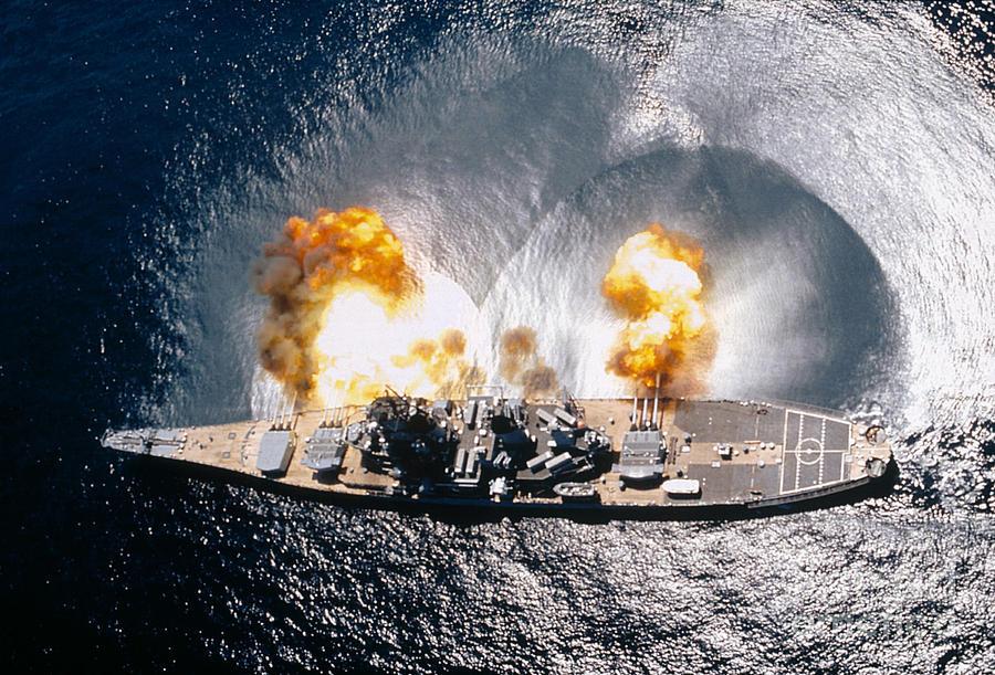 Horizontal Photograph - Battleship Iowa Firing All Guns by Stocktrek Images