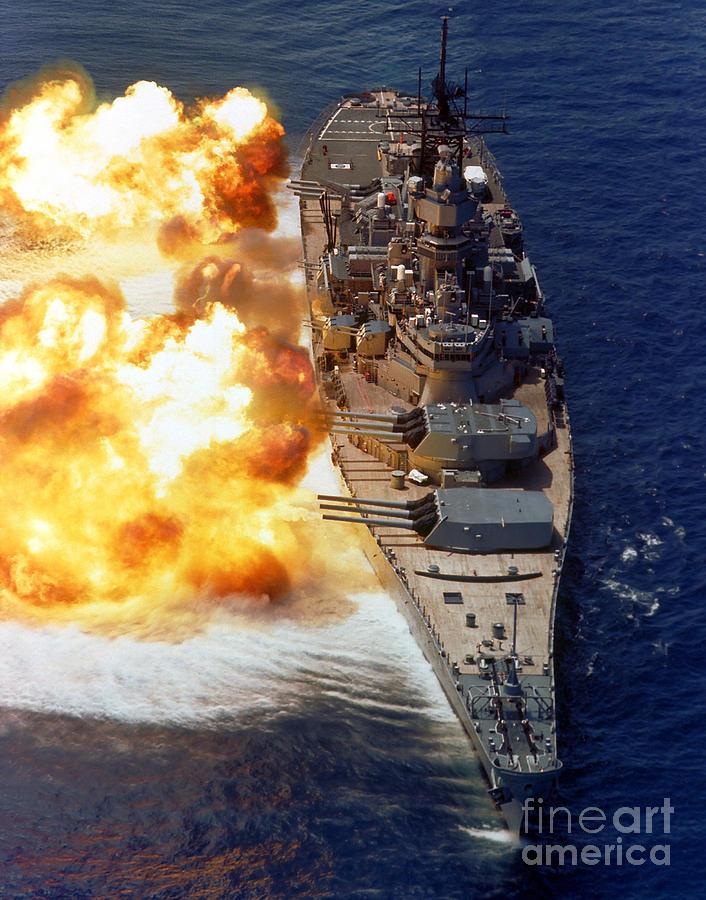 Vertical Photograph - Battleship Uss Iowa Firing Its Mark 7 by Stocktrek Images