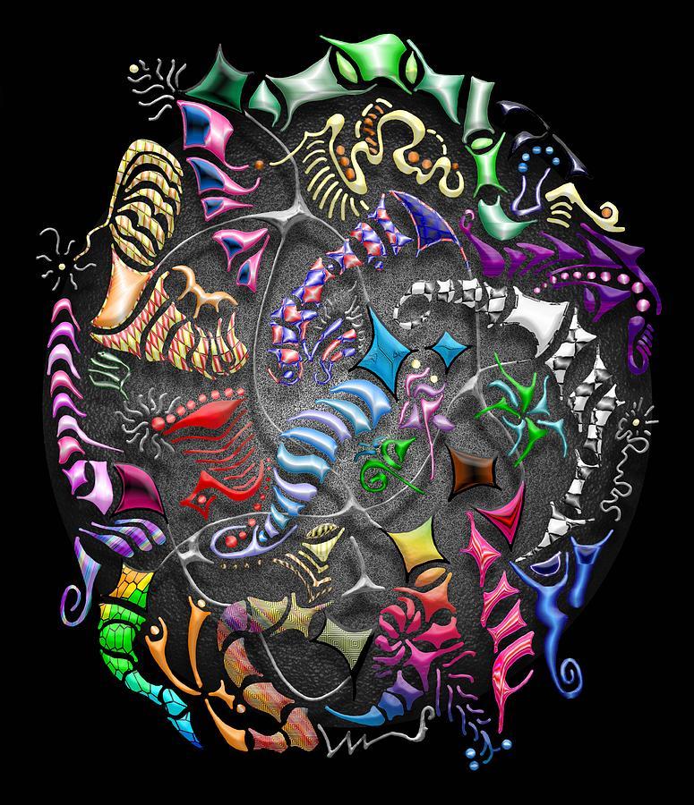 Abstract Digital Art - Battling Kites -- Black by Mark Sellers