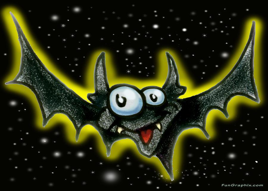Bat Greeting Card - Batty by Kevin Middleton