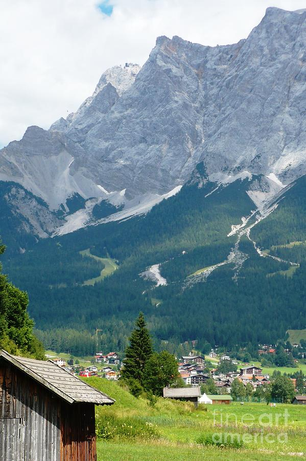 Mountains Photograph - Bavarian Alps With Shed by Carol Groenen