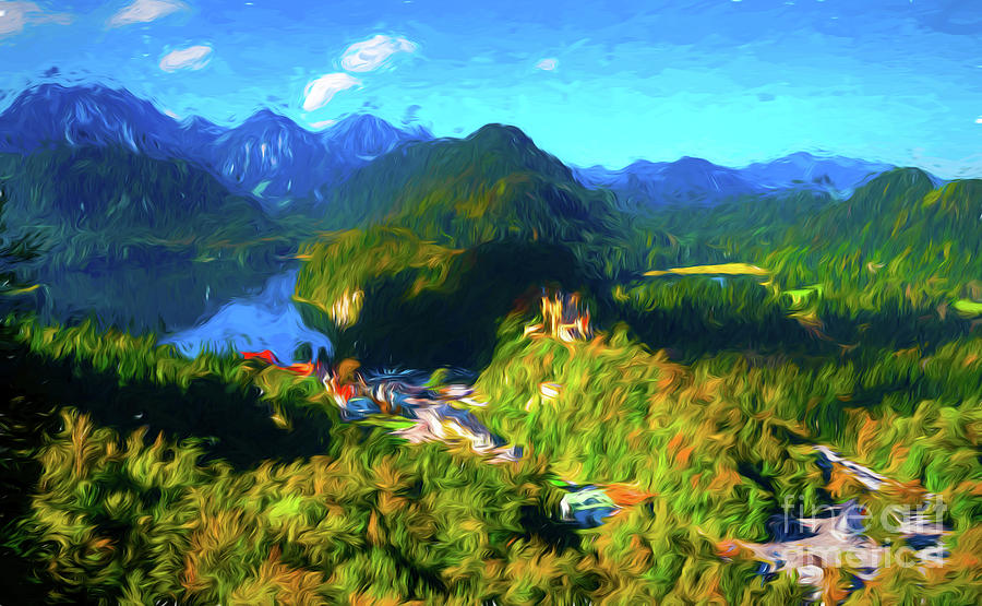 Digital Painting Digital Art - Bavarian Countryside by Pravine Chester