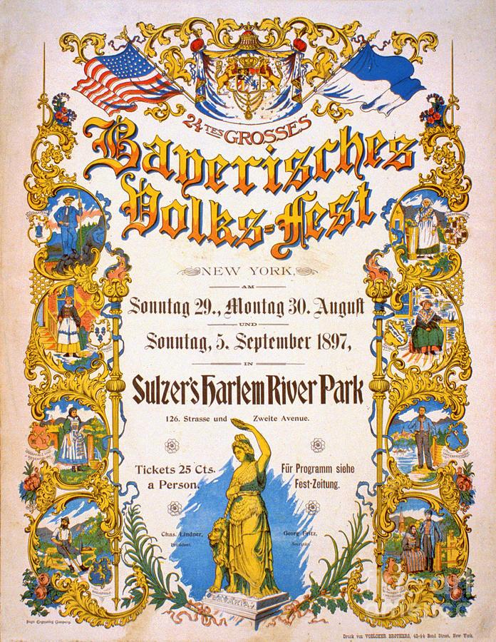 Bavarian Drawing - Bavarian Volksfest New York Vintage Poster 1897 by Vintage Treasure