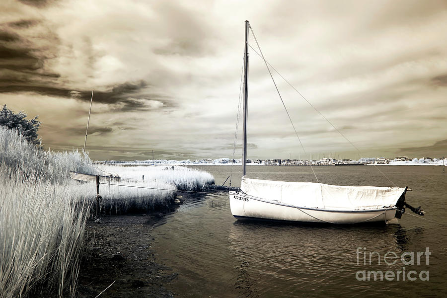 Bay Boat Brown Infrared Photograph - Bay Boat Brown Infrared by John Rizzuto