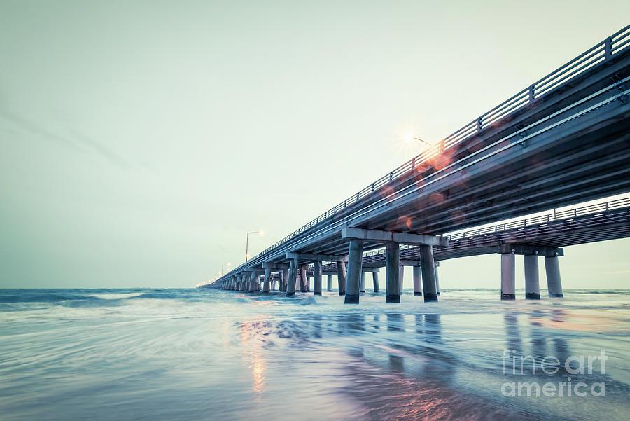 Chesapeake Bay Bridge Tunnel Photograph - Bay Bridge Lights by Lisa McStamp