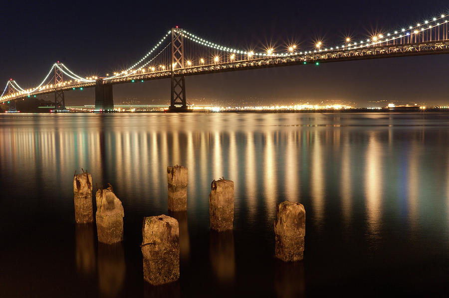 Horizontal Photograph - Bay Bridge Reflections by Connie Spinardi