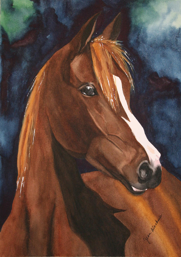 Horse Painting - Bay on Blue 2 by Jean Blackmer
