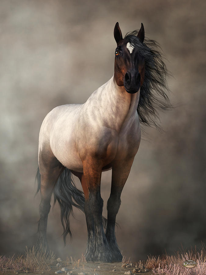 Bay Roan Horse Digital Art - Bay Roan Horse Art by Daniel Eskridge