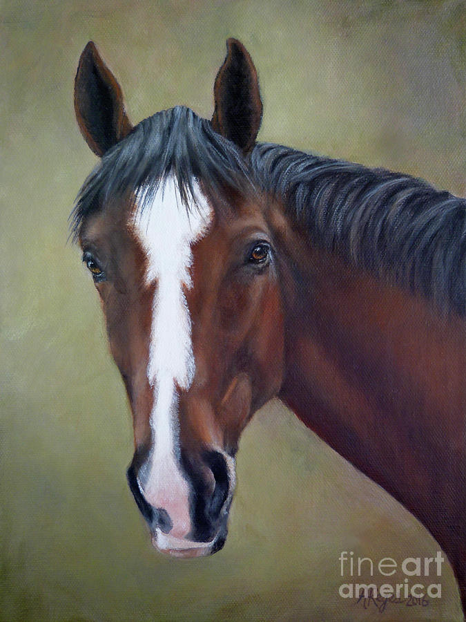 Horse Painting - Bay Thoroughbred Horse Portrait Ottb by Amy Reges