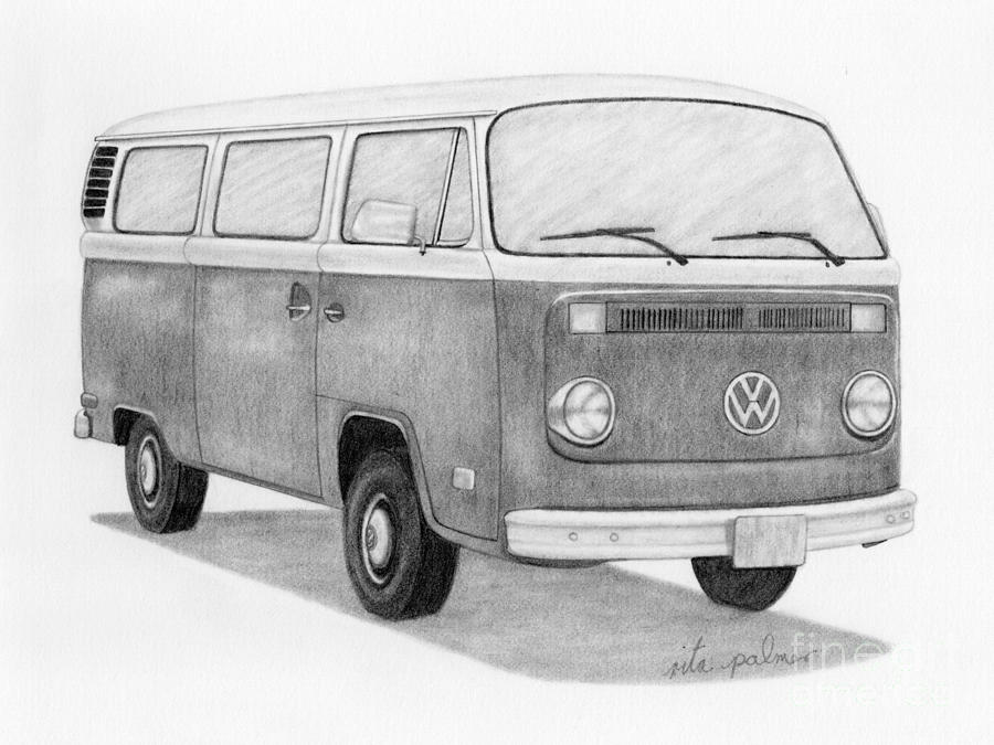 Bay window bus drawing by rita palmer for 16 window vw bus