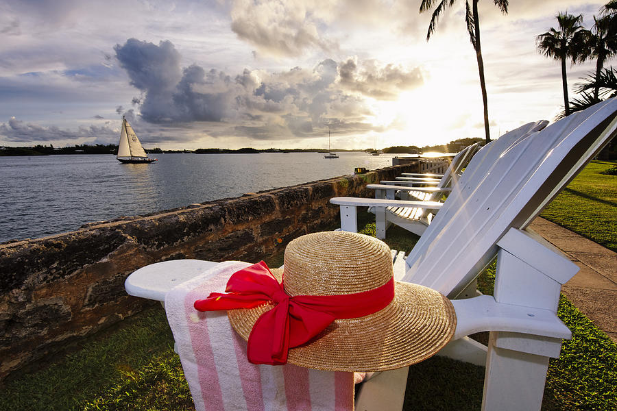Adirondack Chairs Photograph - Bay With A Straw Hat And Adirondack Chairs Hamilton Bermuda by George Oze