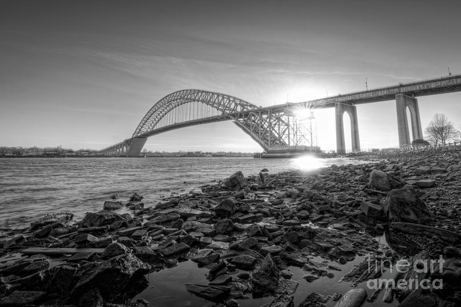 Black And White Photograph - Bayonne Bridge Black And White by Michael Ver Sprill