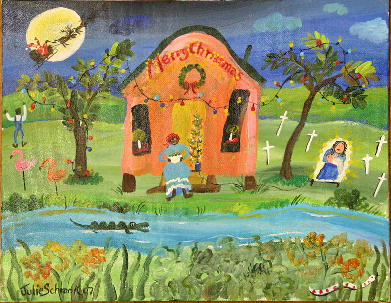 Bayou Christmas Painting by Julie Schronk