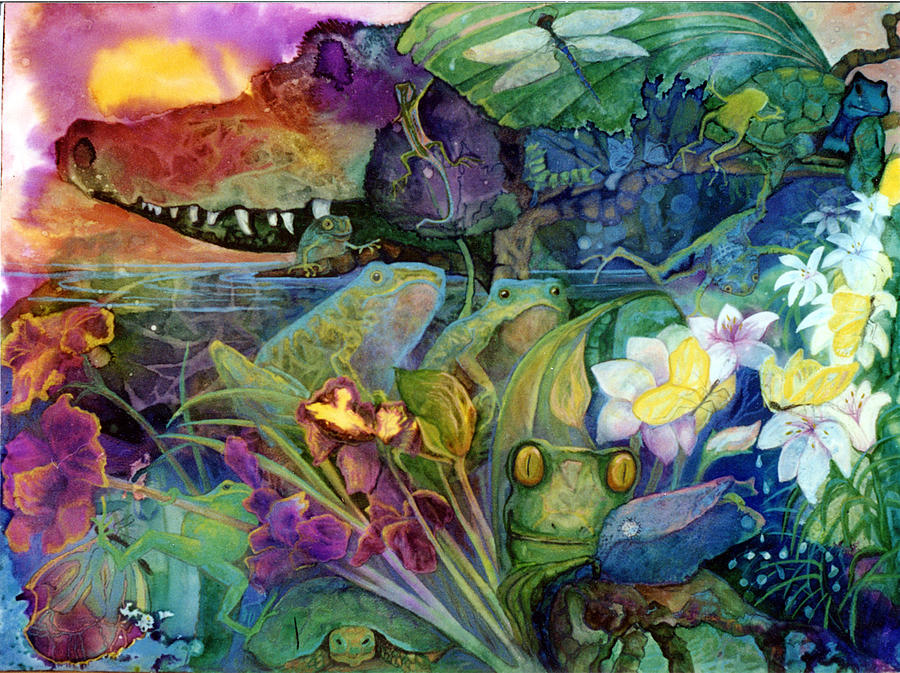 Aligator Painting - Bayou Magic by Valerie Aune