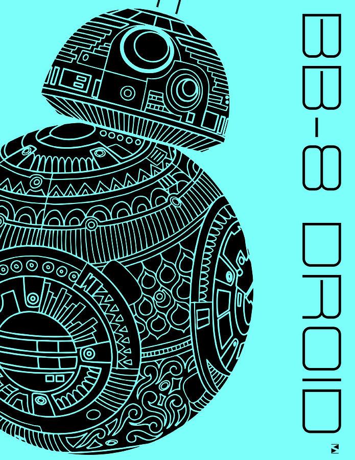 Bb8 Droid - Star Wars Art, Blue Mixed Media