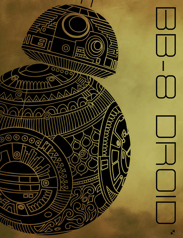 Bb8 Droid - Star Wars Art - Brown Mixed Media