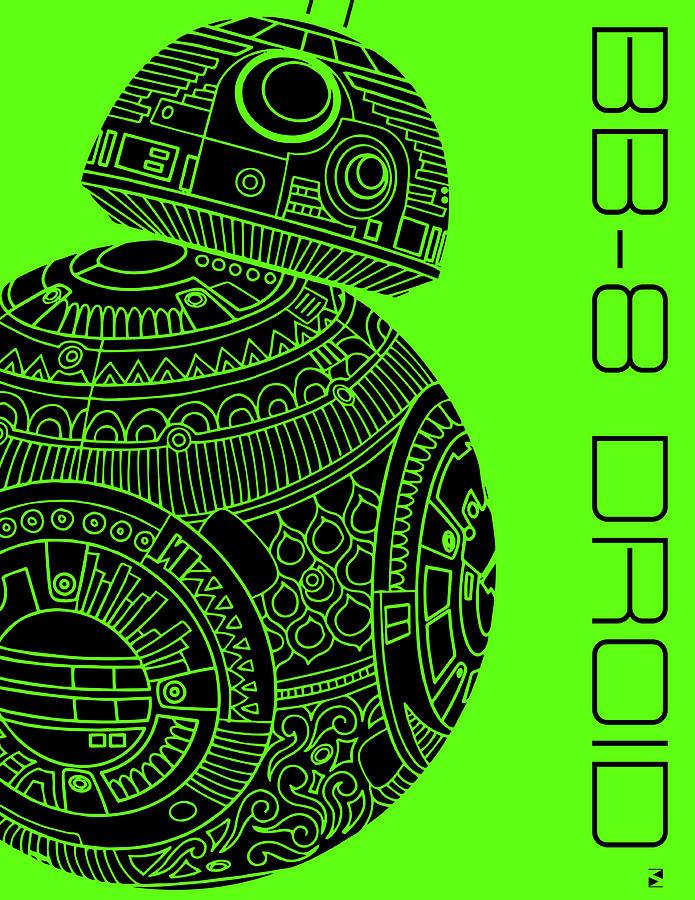 Bb8 Droid - Star Wars Art, Green Mixed Media