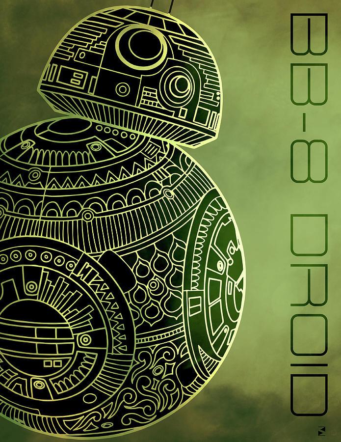 Bb8 Droid - Star Wars Art - Metallic Mixed Media