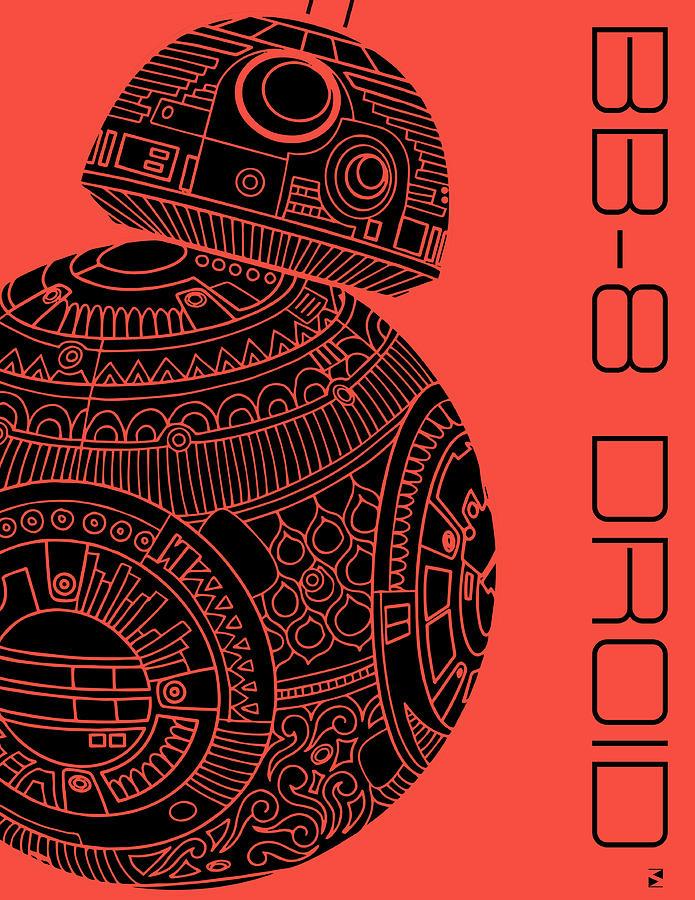 Bb8 Mixed Media - BB8 DROID - Star Wars Art, Red by Studio Grafiikka