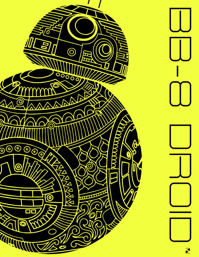 Bb8 Droid - Star Wars Art, Yellow Mixed Media