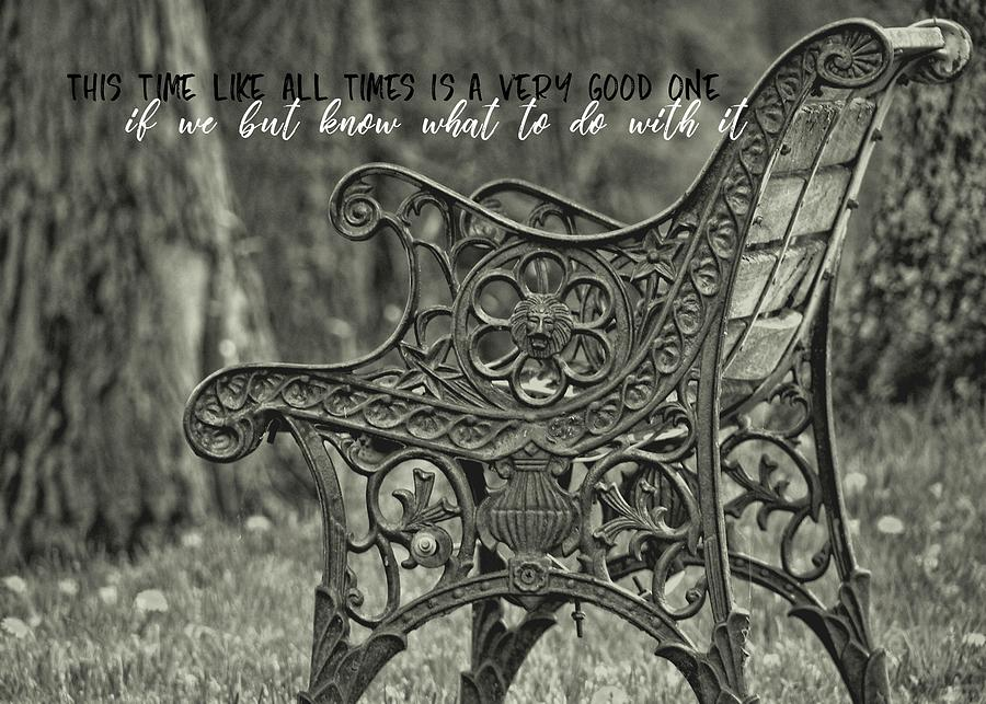 Bench Photograph - Be Aware Quote by JAMART Photography