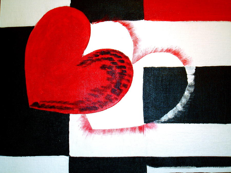 Hearts Painting - Be Mine by Sheila J Hall