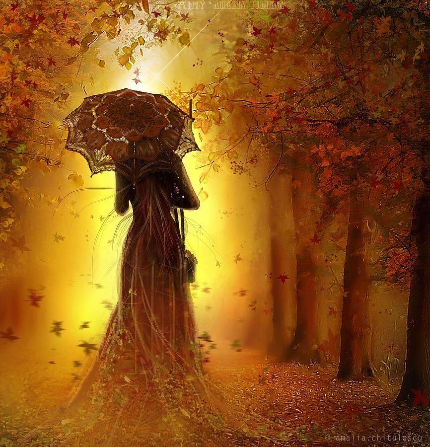 Amalia Digital Art - Be My Autumn by Amalia Iuliana Chitulescu