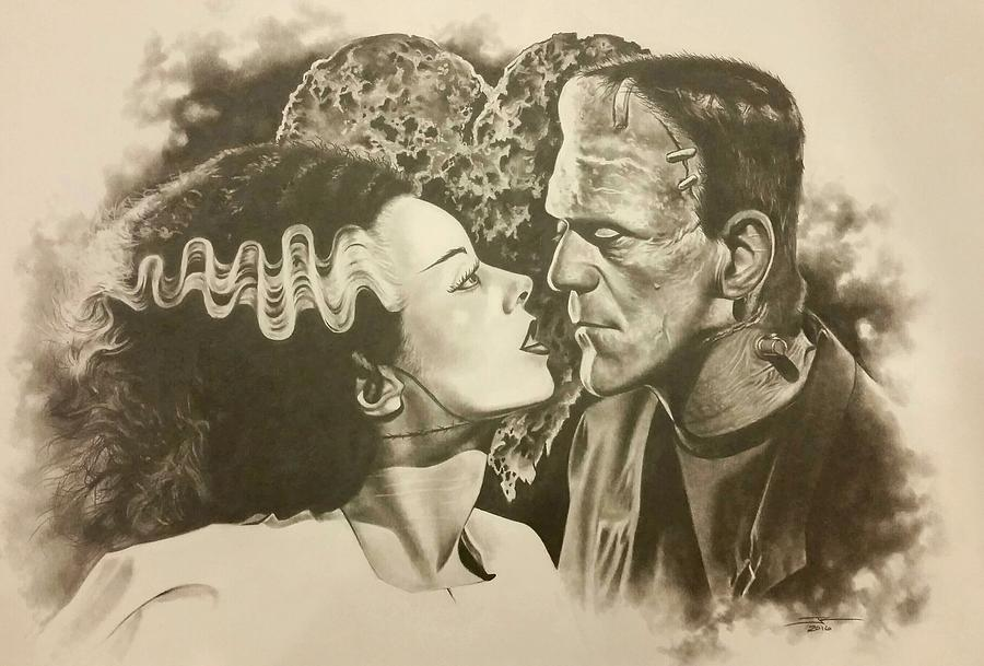 Frankenstein Drawing - Be My Valentine by James Rodgers