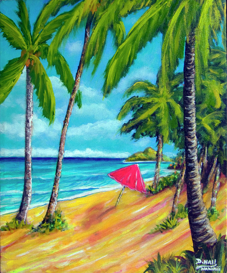 Lanikai Beach Painting - Beach And Mokulua Islands  #368 by Donald k Hall