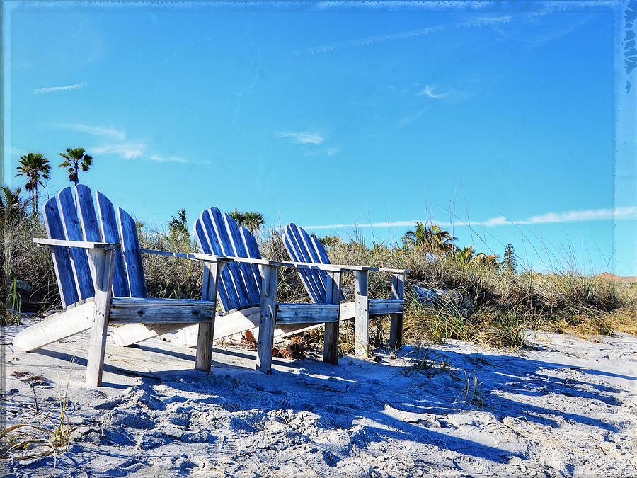 Blue Photograph - Beach Art - Waiting For Friends - Sharon Cummings by Sharon Cummings