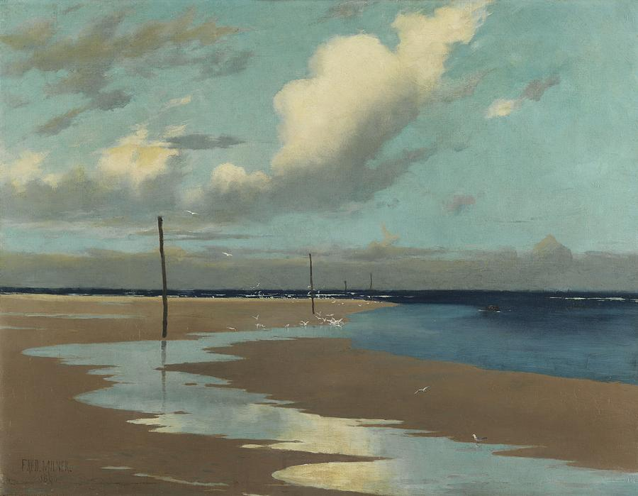 Beach Painting - Beach At Low Tide by Frederick Milner