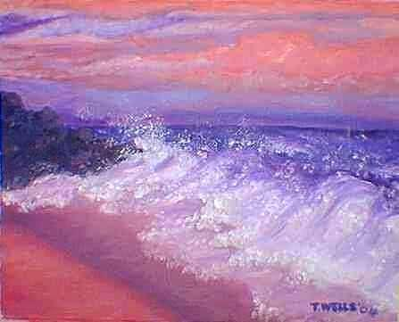 Beach At Sunrise Painting by Tanna Lee Wells